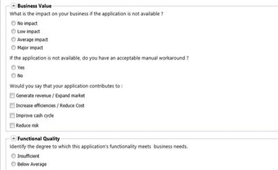 Submit questionnaires to business and IT owners to assess their applications